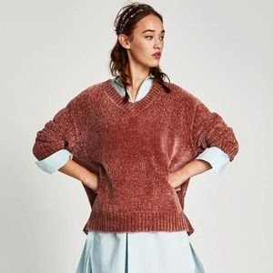 ZARA Oversized Chenille Copper Color Sweater